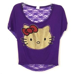 Purple Hello Kitty Top with Lace Back